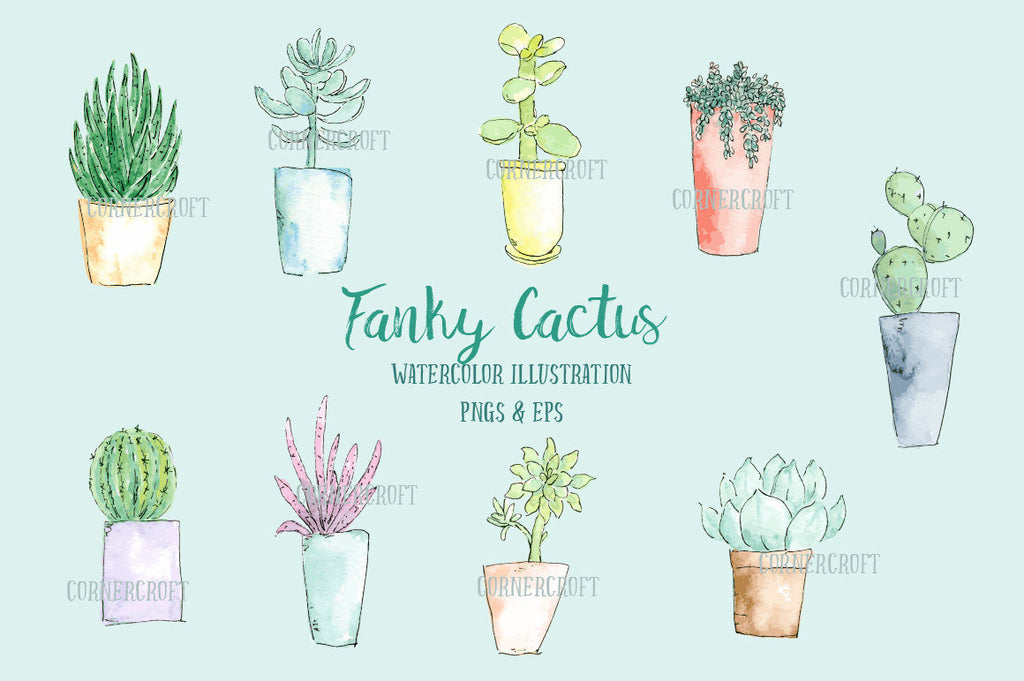 watercolor succulent plants and cactus in pots in watercolor and ink sketch, eps and vector