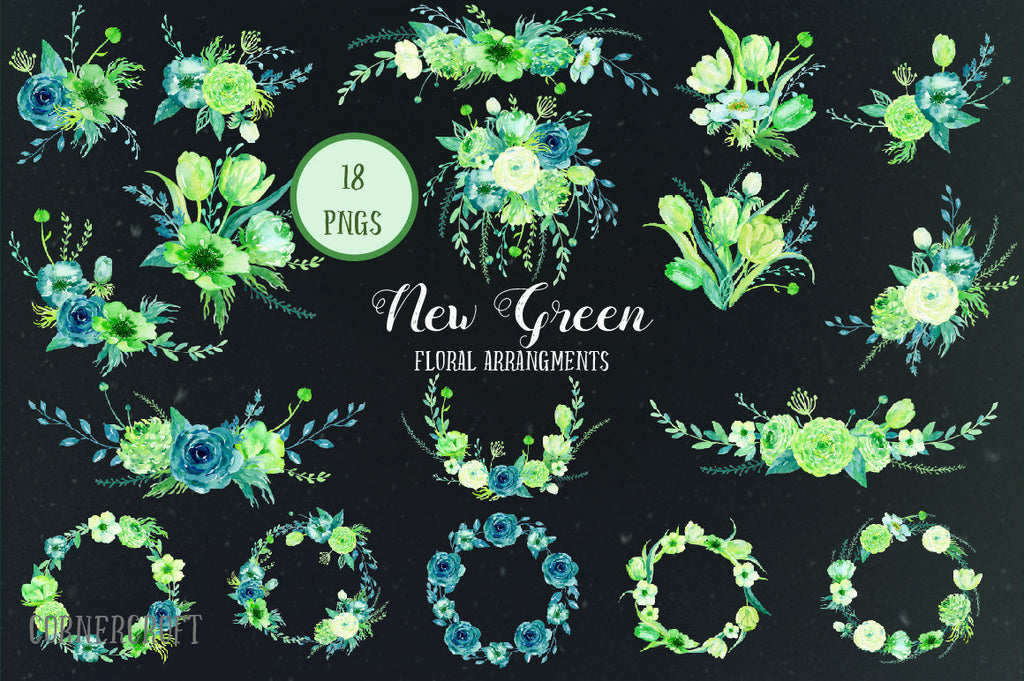 watercolor clipart, Watercolor Collection New Green, roses, ranunculus, tulips, spring flowers