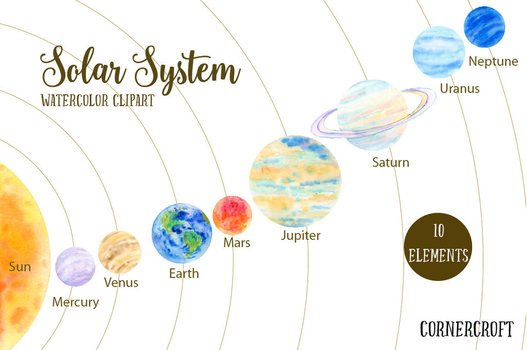 watercolor Sun, Mercury, Venus, Earth, Mars,Jupiter, Saturn, Uranus, Neptune for instant download