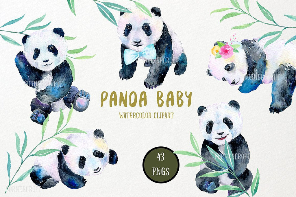 watercolour cute panda babies, bamboo leaves, clouds, moons, rain drops and stars and other floral elements
