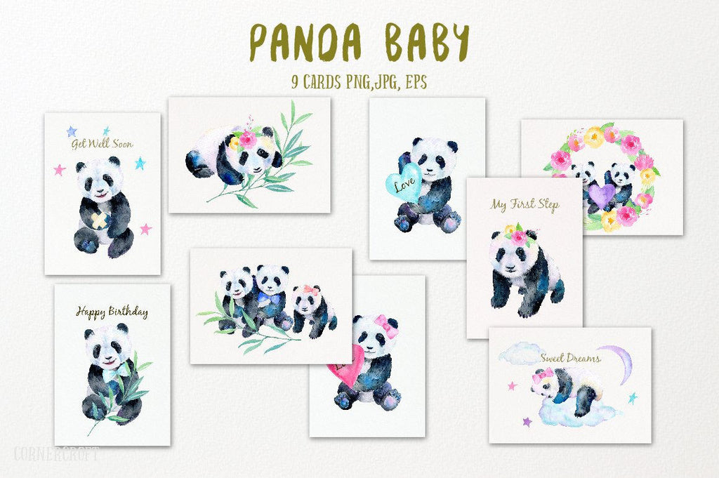 watercolor panda baby card template instant download