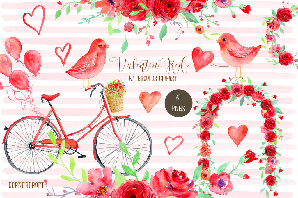 Watercolour clipart Valentine Red, red themed valentine illustration, for wedding, engagement.