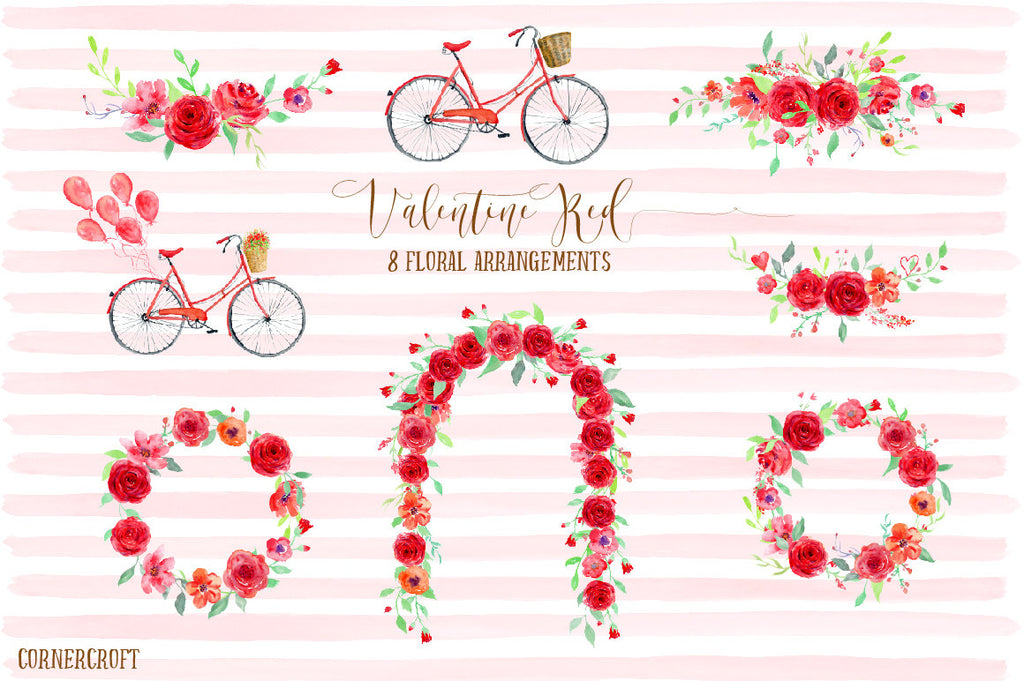 watercolor red bicycle, red bike, red rose wreath, red rose arch, red rose posy, instant download