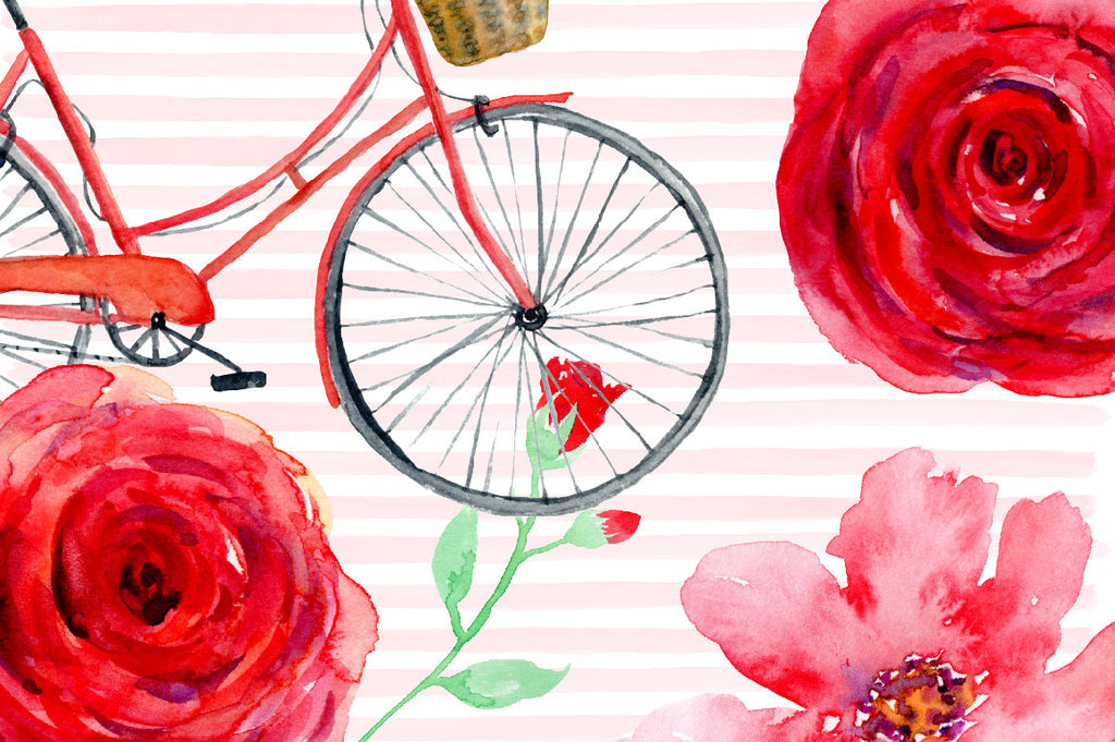 watercolor clipart Valentine red, red bike, red flowers, wedding invitations