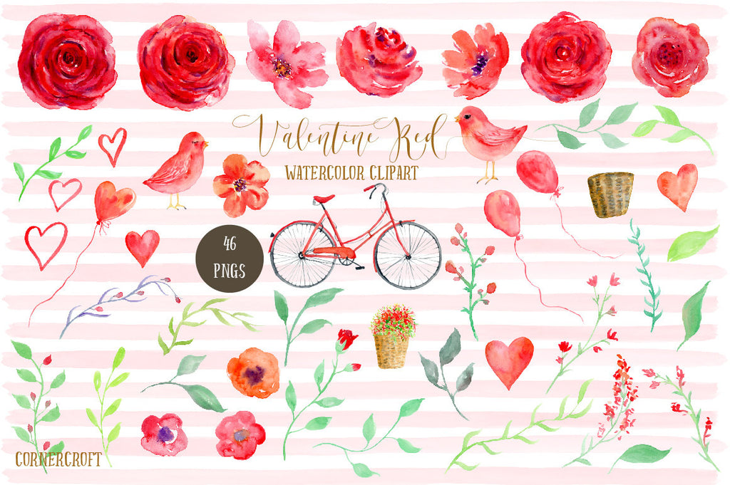 watercolour red roses, red birds, love birds, red bike, wedding arch, watercolor illustration