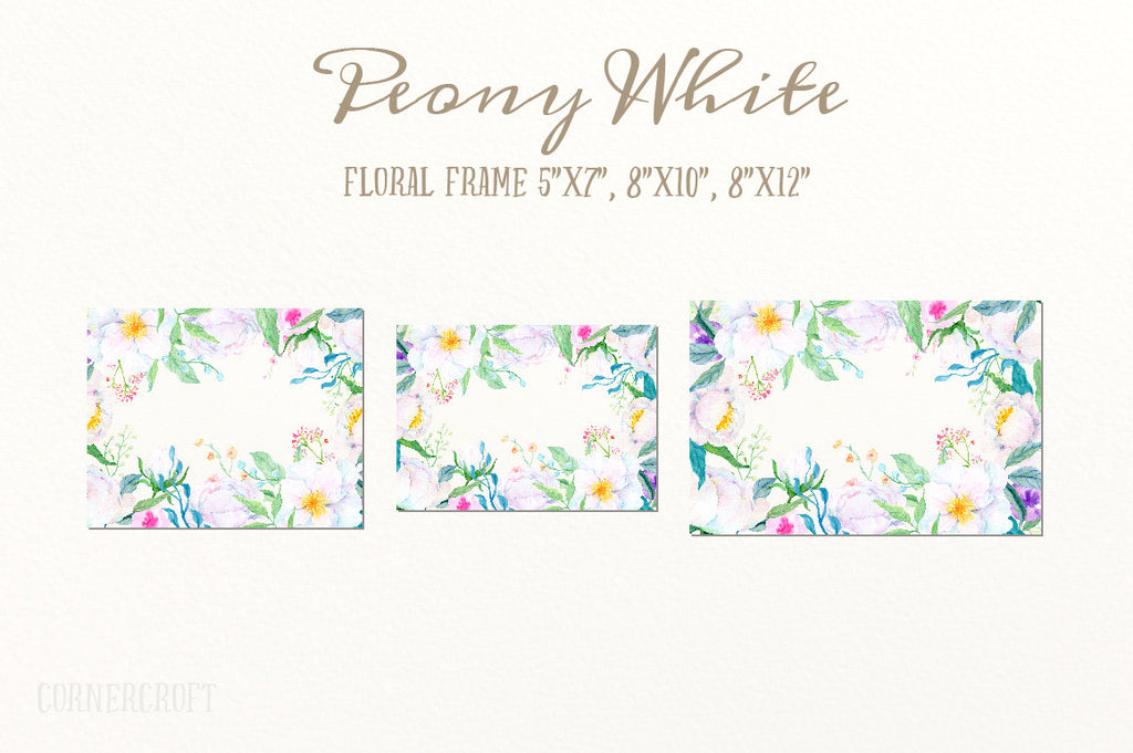 watercolor white peony frame, wedding peony, white peony clipart