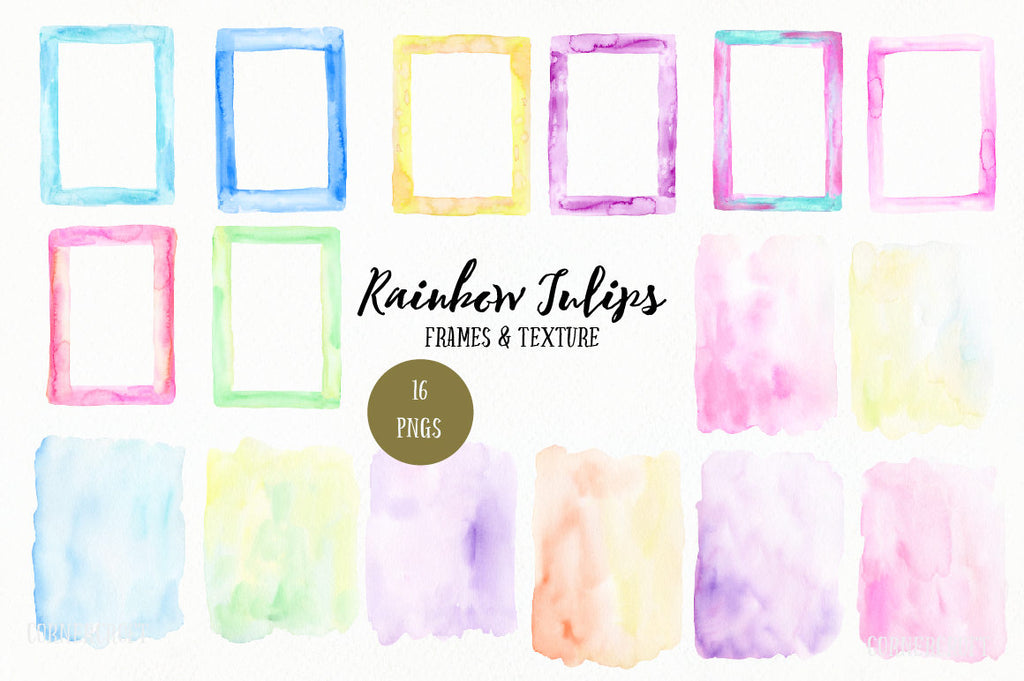 "Watercolor texture and frames ""rainbow tulips"", pastel color background and texture, watercolor frame for greeting card design"