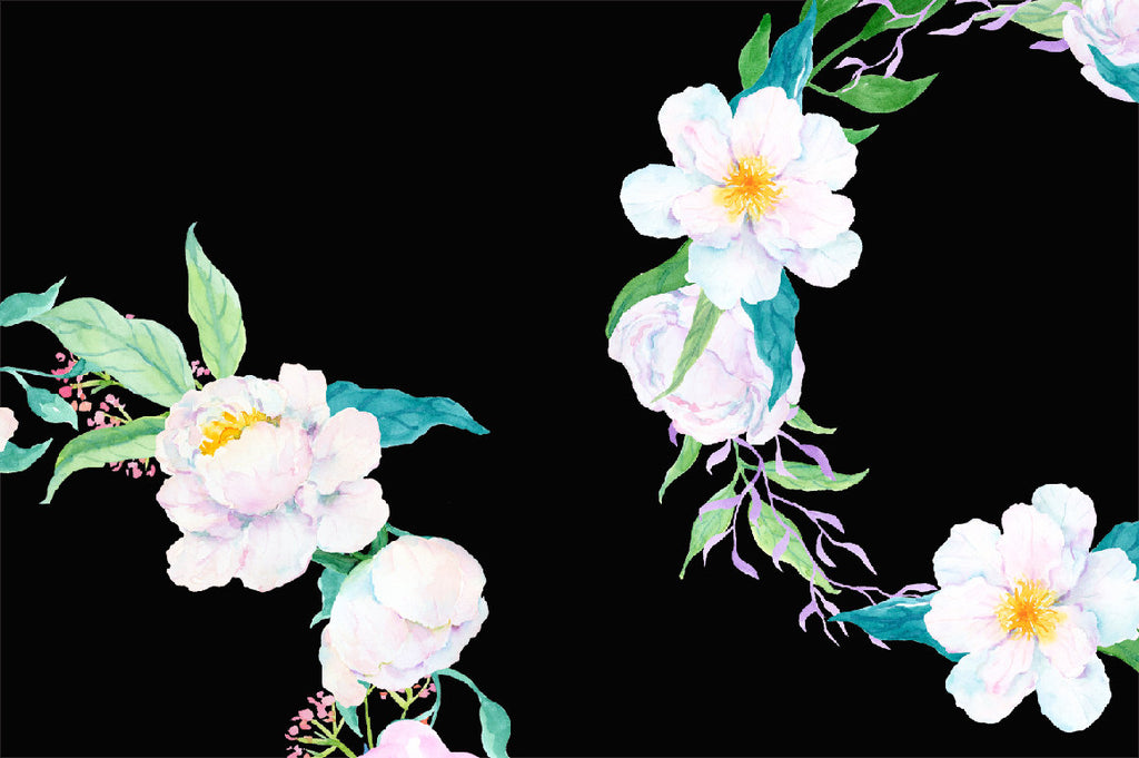 Hand painted watercolor white peony floral wreath, white peony composition for instant download.