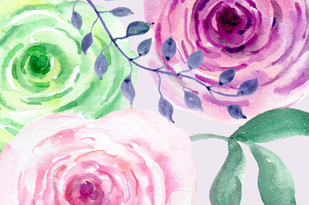 Hand painted watercolor subtle green, pink and purple roses, decorative elements, background texture and floral arrangements for instant download