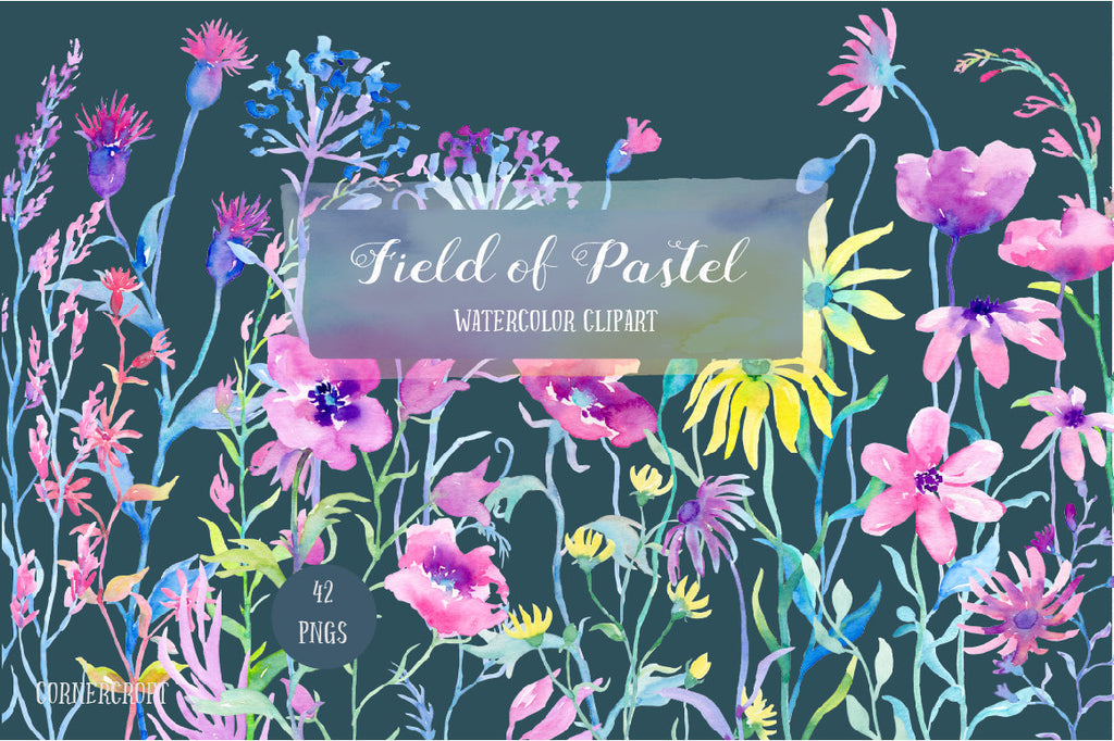 Watercolor clipart Field of Pastel, pastel color meadow flowers, blue, pink, purple floral border, field flowers for instant download