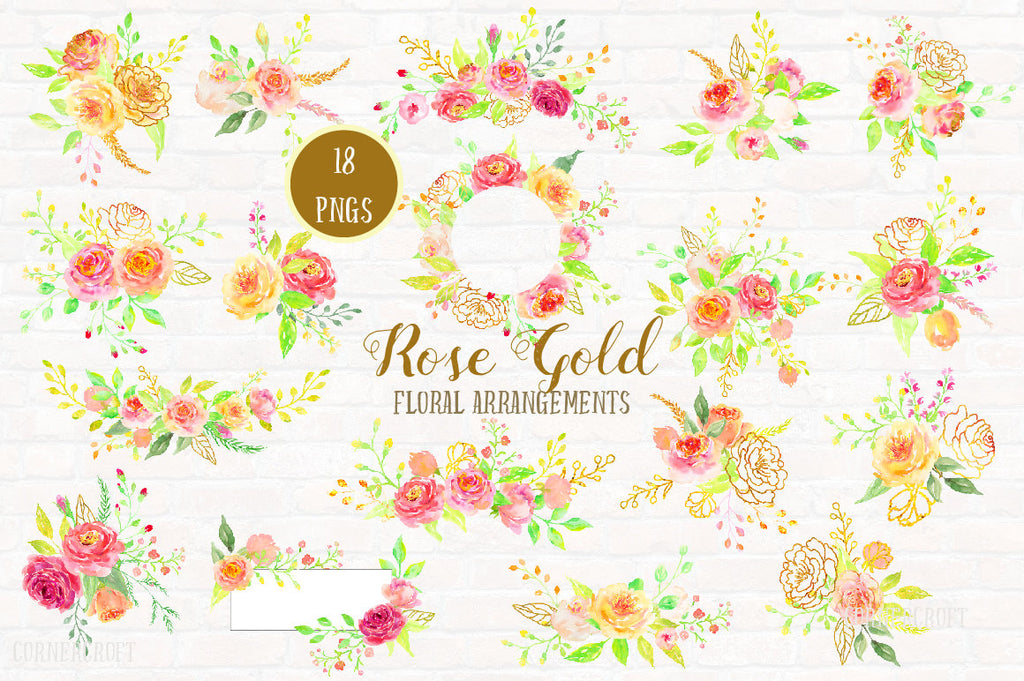 Watercolor Rose Gold Floral Arrangement, pink, peach, gold rose, rose posy, wreath