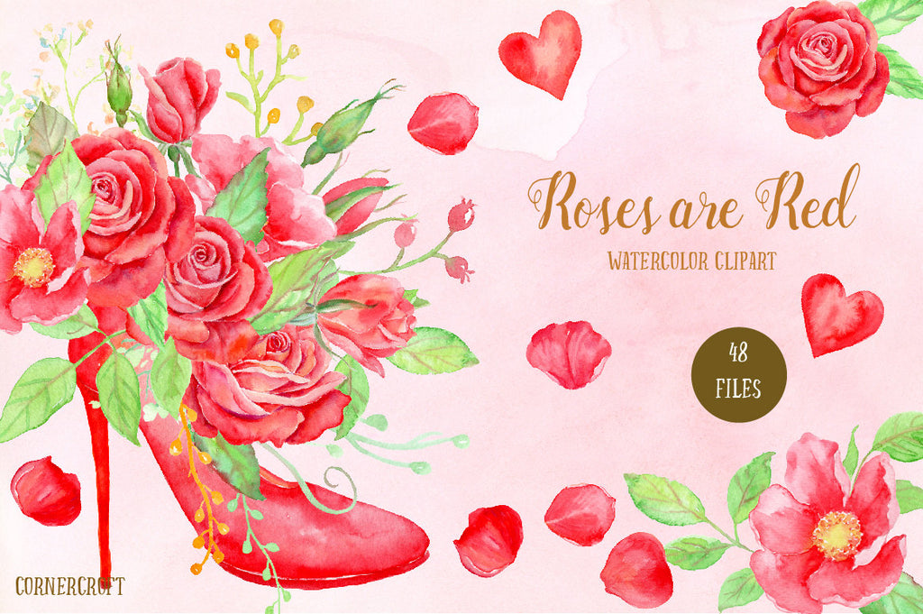 Watercolor Clipart Roses Are Red, red rose, wild rose, high heel shoe, rose bouquet, red flowers, watercolor texture  for instant download