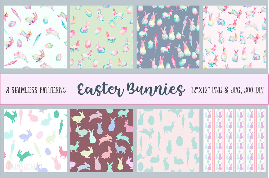 Watercolor Digital Paper Easter Bunnies, rabbits, abstract rabbits in pastel color for instant download
