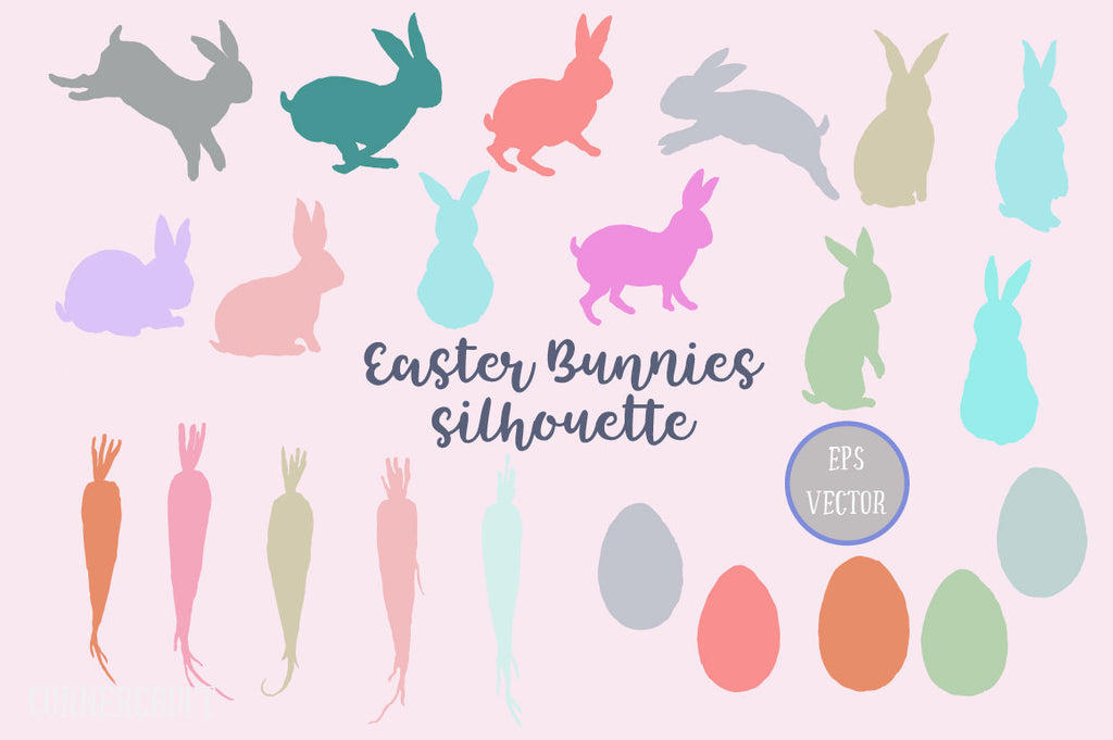watercolor Easter Bunny Silhouette, svg and eps
