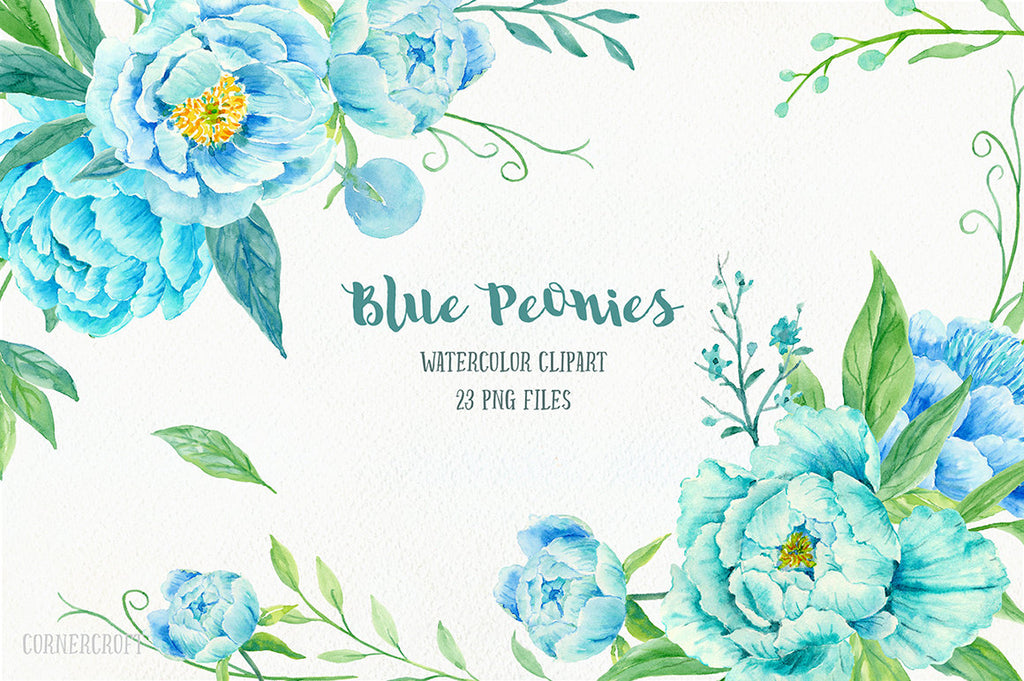 eony Clip Art, Watercolor blue peony clipart, blue peonies, decorative elements, floral arrangements for instant download