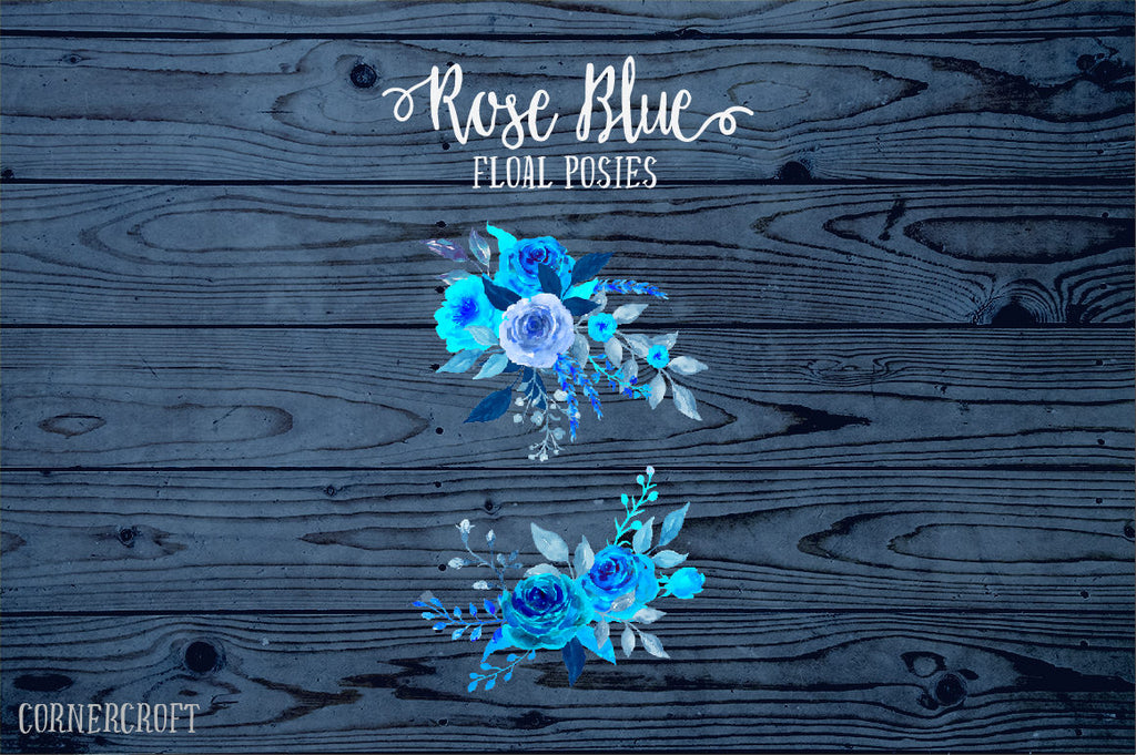 Rose Clip Art, Watercolor Rose Blue, blue roses, decorative elements, floral arrangements for instant download