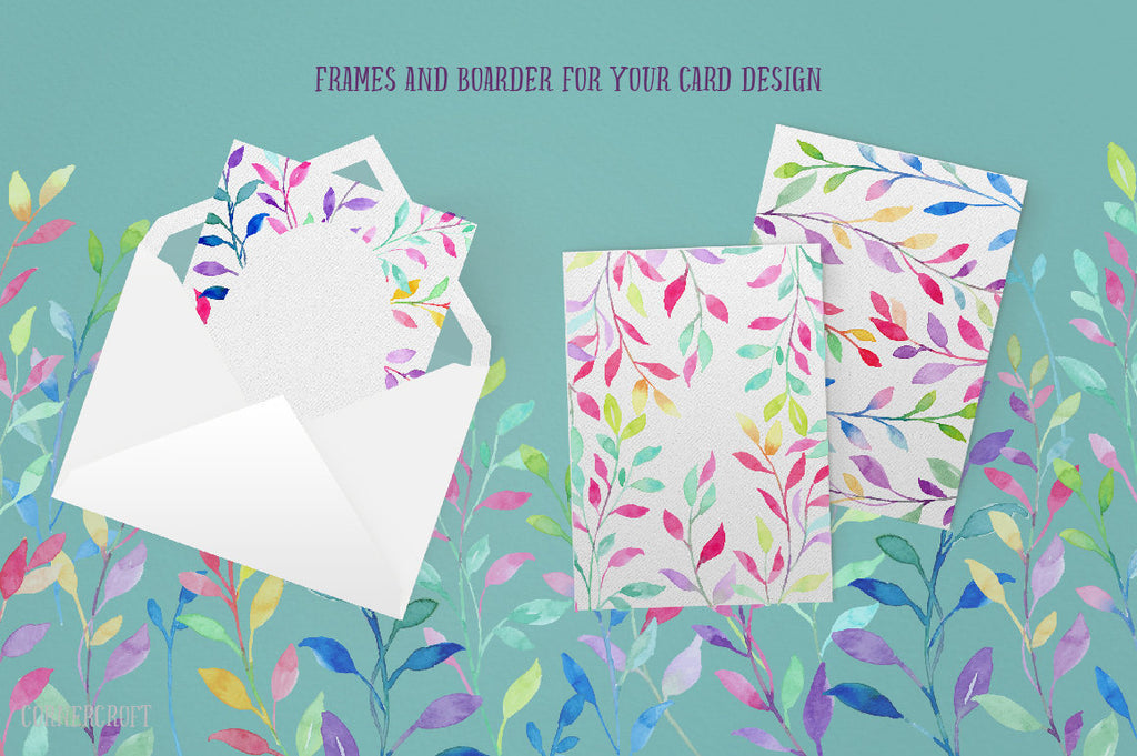 card design, watercolor colourful leaf, corner croft design.