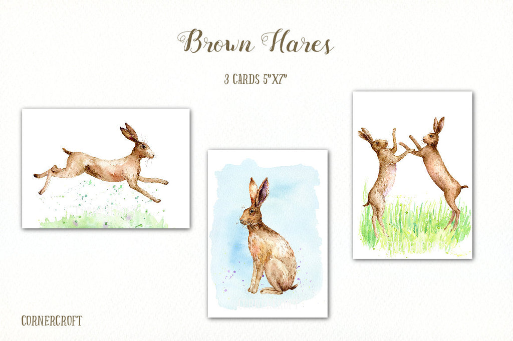 Hare Clip Art, Watercolor Clipart Brown Hares, brown hare, running, fighting, rabbit clip art