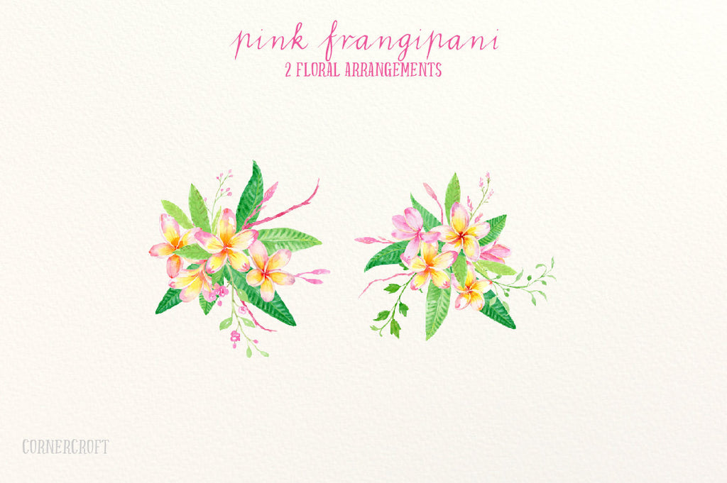 Frangipani Clip Art, Watercolor pink frangipani, green foliage, floral arranagments for instant download