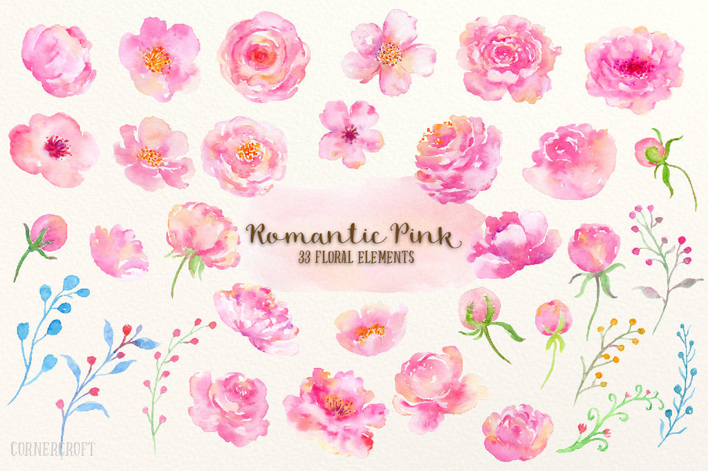 watercolor clipart, romantic pink, pink flowers, leaf, peach flower, watercolor illustration
