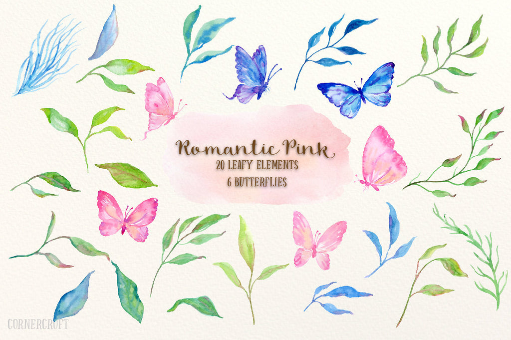watercolor clipart romantic pink, butterflies, leaf, corner croft illustration