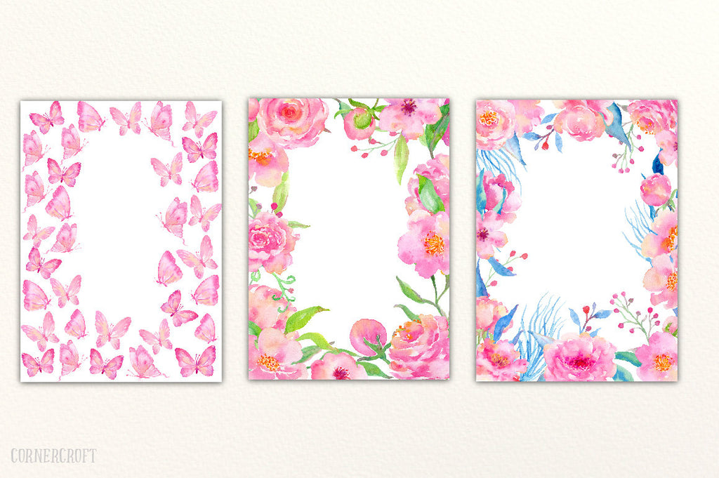 Watercolor Romantic Pink Wedding Invitation Graphics, card template, pink floral frame