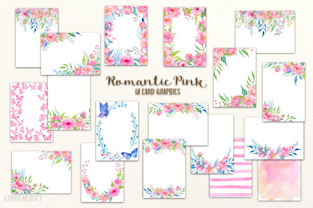 18 card template, floral cards, pink card stocks, watercolor floral frames.