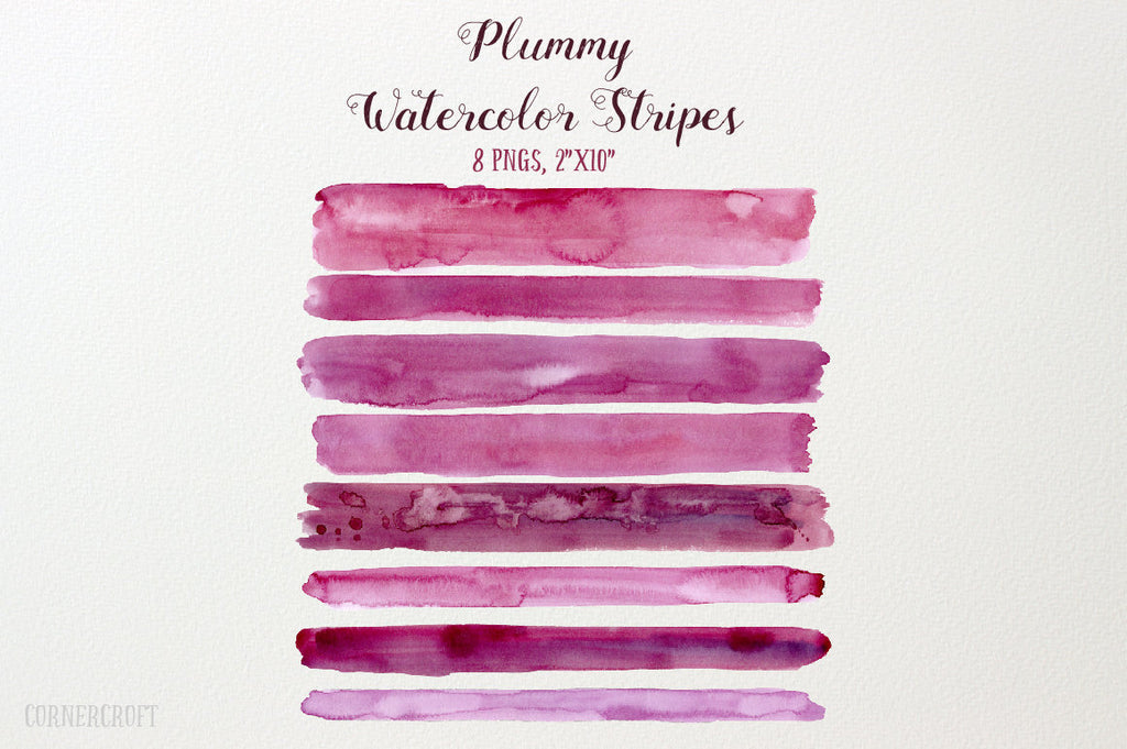 Hand painted watercolor plummy and purple brush strokes, watercolor stripes for instant download