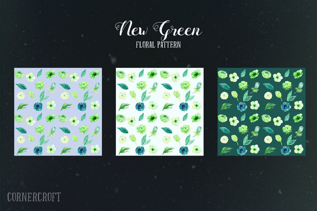 Watercolor Card Graphics New Green, spring flower card graphics for wedding invitations, wedding templates, greeting cards
