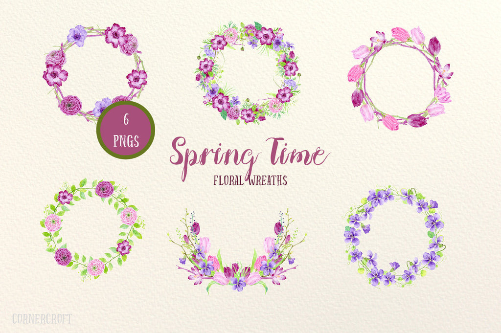 Watercolor wreaths spring time, pink and purple spring flower wreaths for instant download, wreath printable