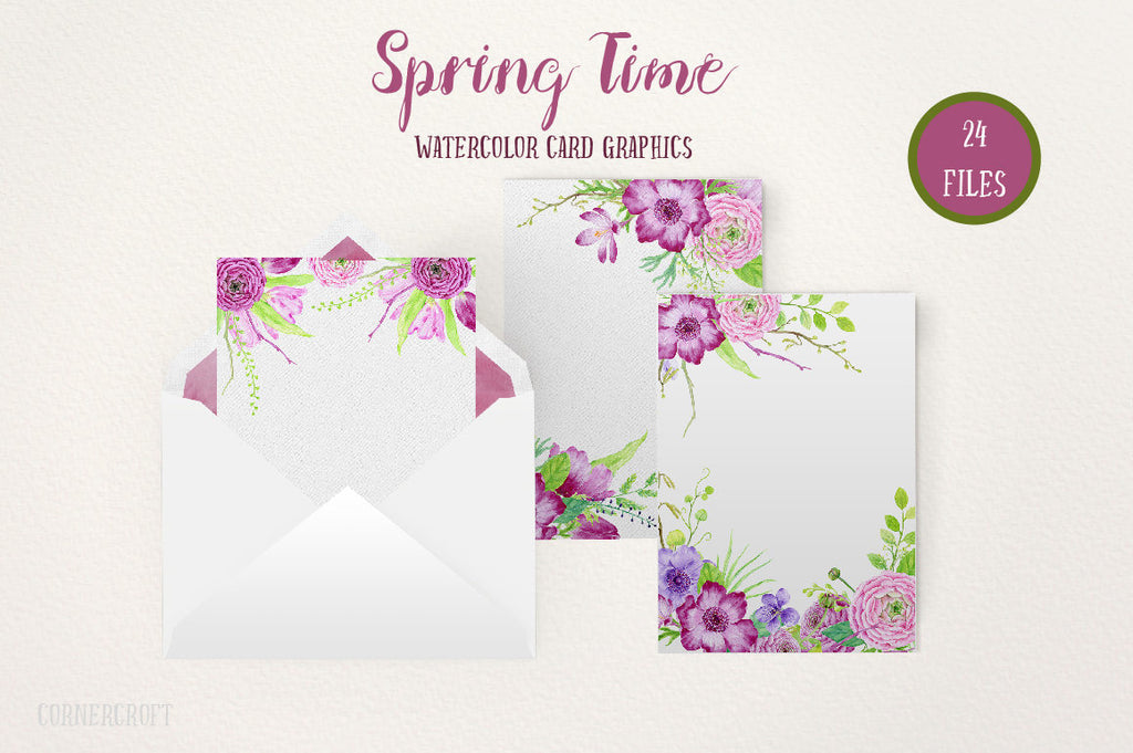 Watercolor Card Graphics Spring Time, pink and purple themed spring flower card graphics, wedding templates