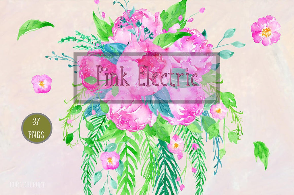 atercolor Clipart Pink Electric, bright pink and purple peonies, bouquet and floral frame for instant download