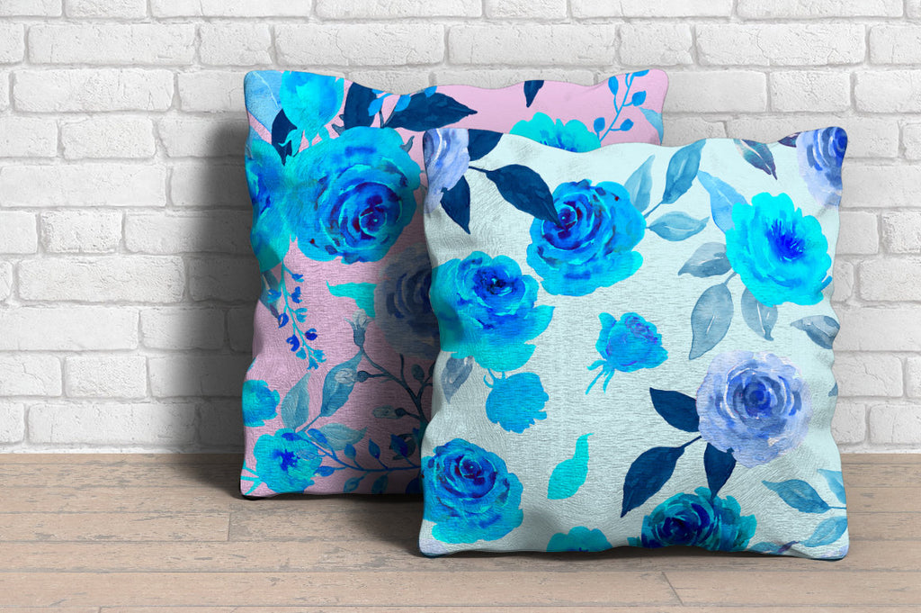 Hand painted watercolor floral background of blue roses and flowers, watercolor rose texture
