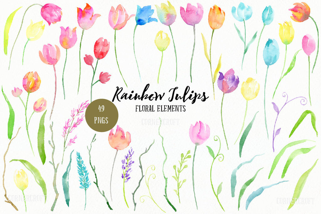 Tulip elements, png files of watercolor tulips, spring flowers, watercolor flowers,