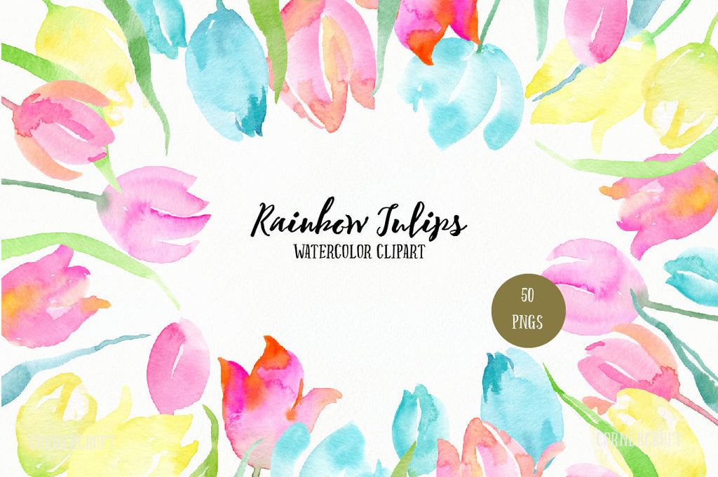 Rainbow tulips watercolor clipart, pastel color tulips, watercolor tulip, tulip illustration
