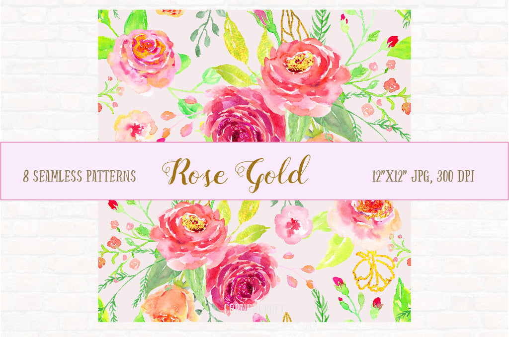 Watercolor Digital Paper Rose Gold,  watercolor background, rose pattern, digital background  for instant download