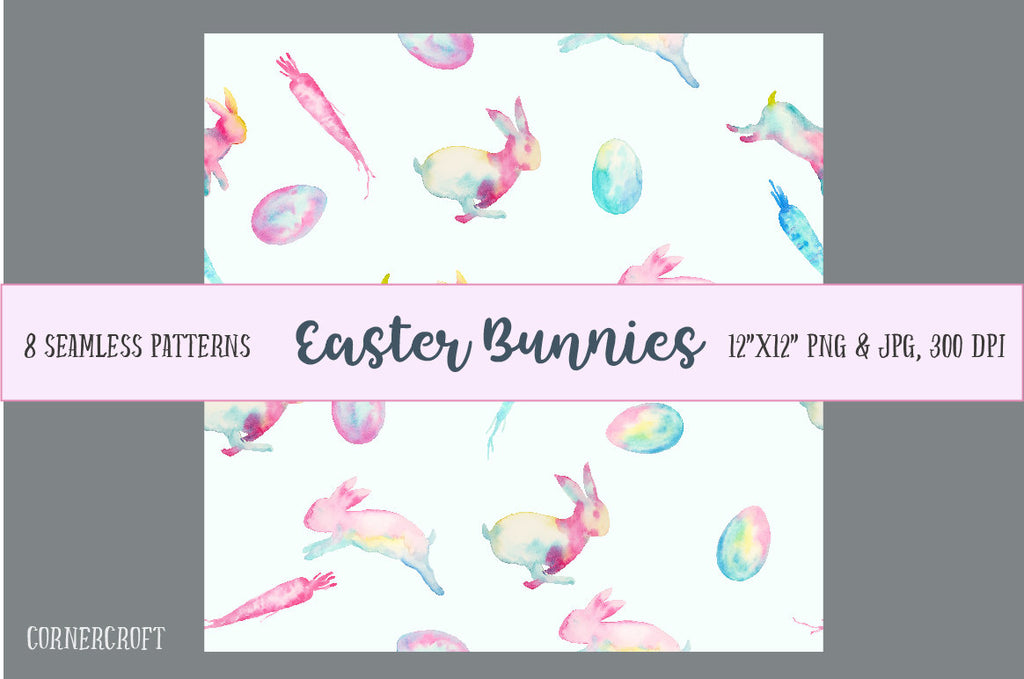 easter bunny pattern, digital paper, seamless pattern