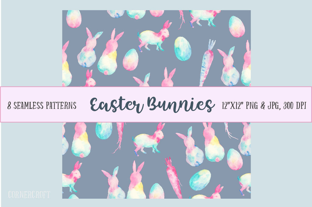 watercolor easter bunny pattern, seamless pattern