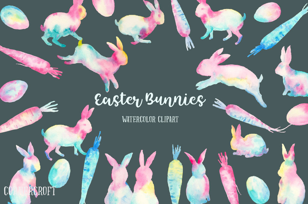 Watercolor Easter bunnies abstract, rabbits, carrots and Easter eggs in pastel color, pink and blue, instant download