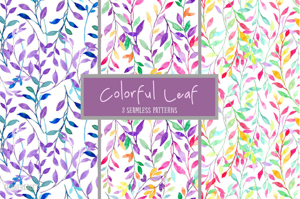 Watercolor leaf patterns, seamless pattern, corner croft pattern