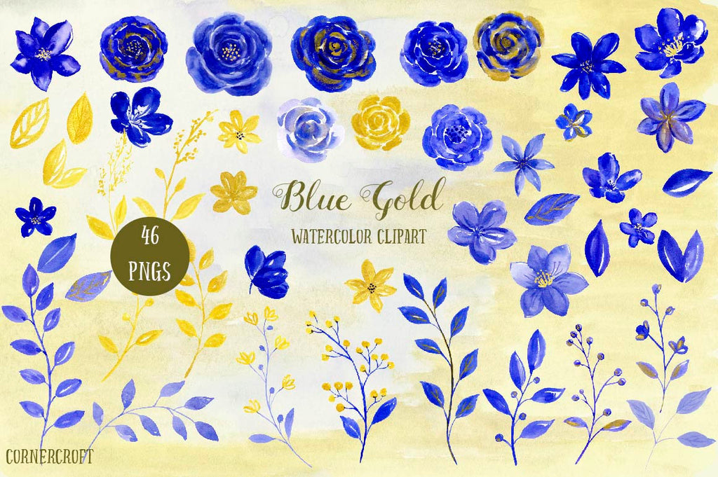 watercolor clipart, blue and gold flowers, watercolor floral arrangements