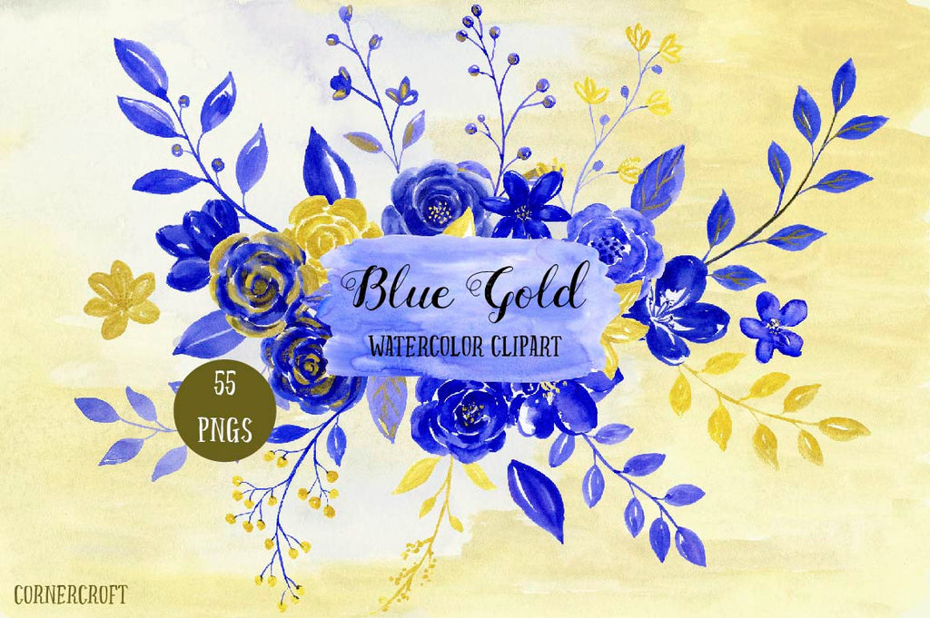watercolor flowers, blue flowers, watercolor clipart from corner croft. Watercolor gold flowers