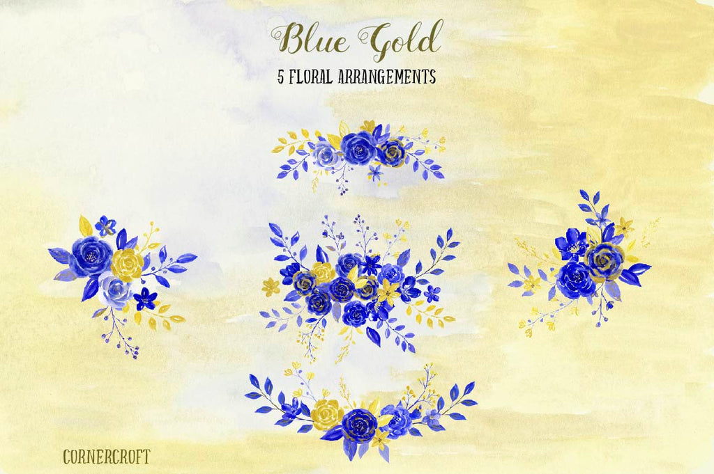 Watercolour illustration, blue flower, gold flower, floral posy