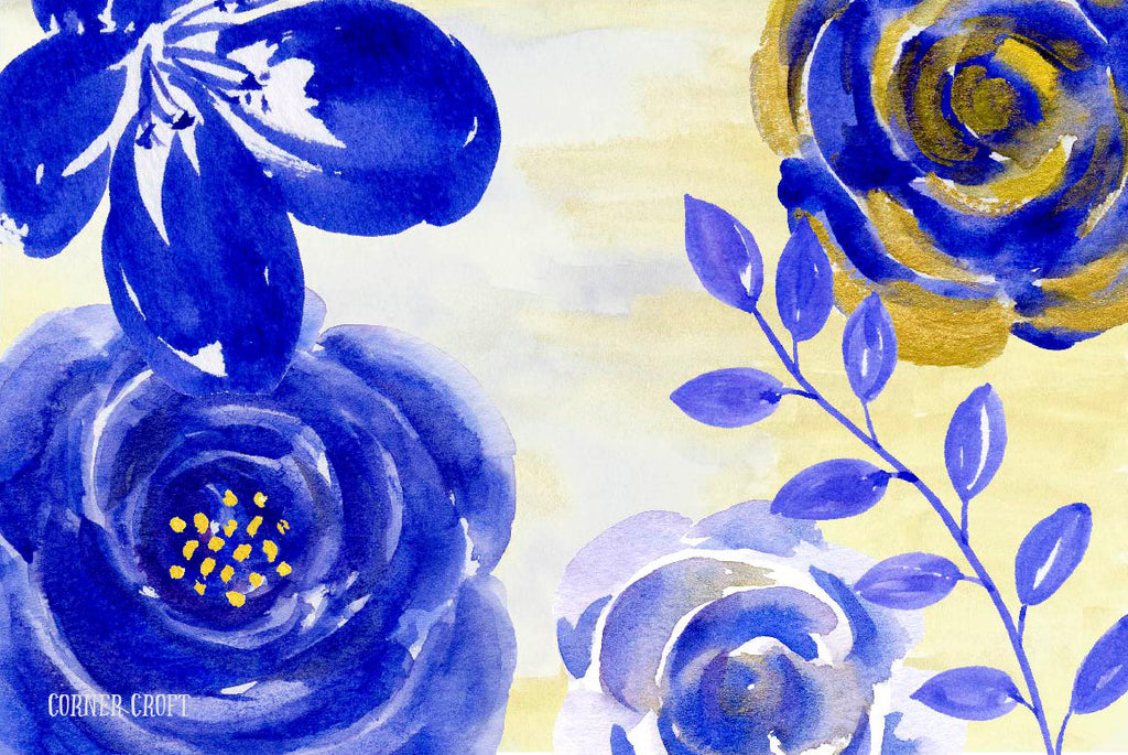 Blue Gold Clipart - watercolor clipart blue and gold roses, floral elements border, frame and flower arrangement for instant download