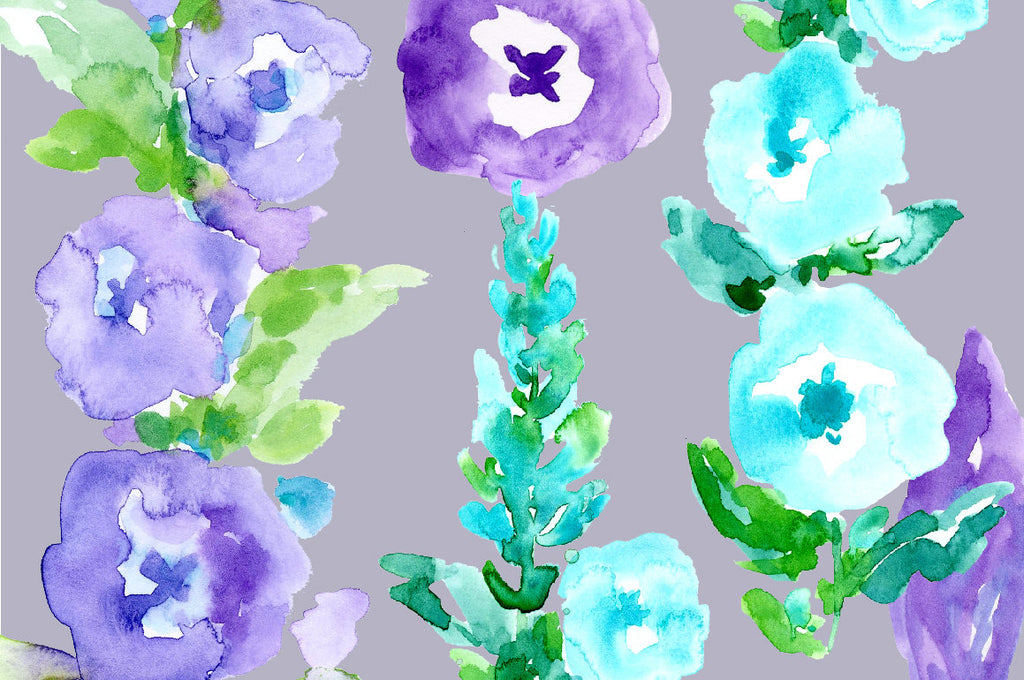 Hand painted watercolor purple floral spikes, toll floral spikes, cottage flowers, blue and purple flowers for instant download