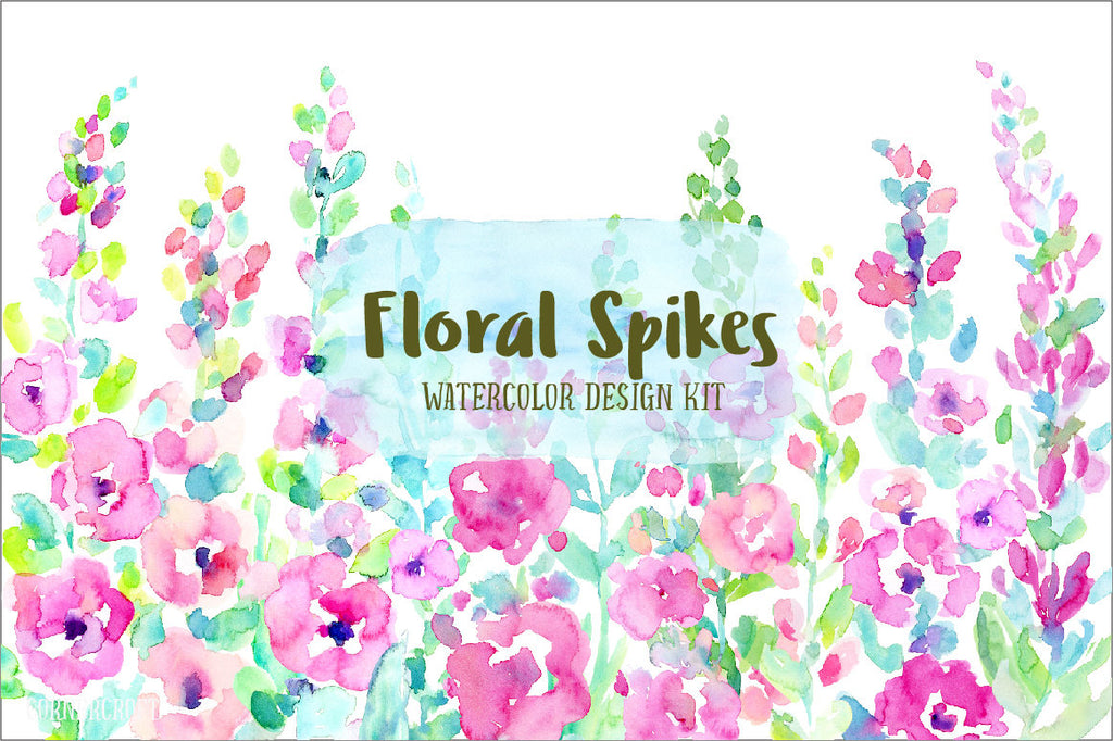 abstract flower spikes, pink, peach and purple, ready made card graphics and floral border for instant download