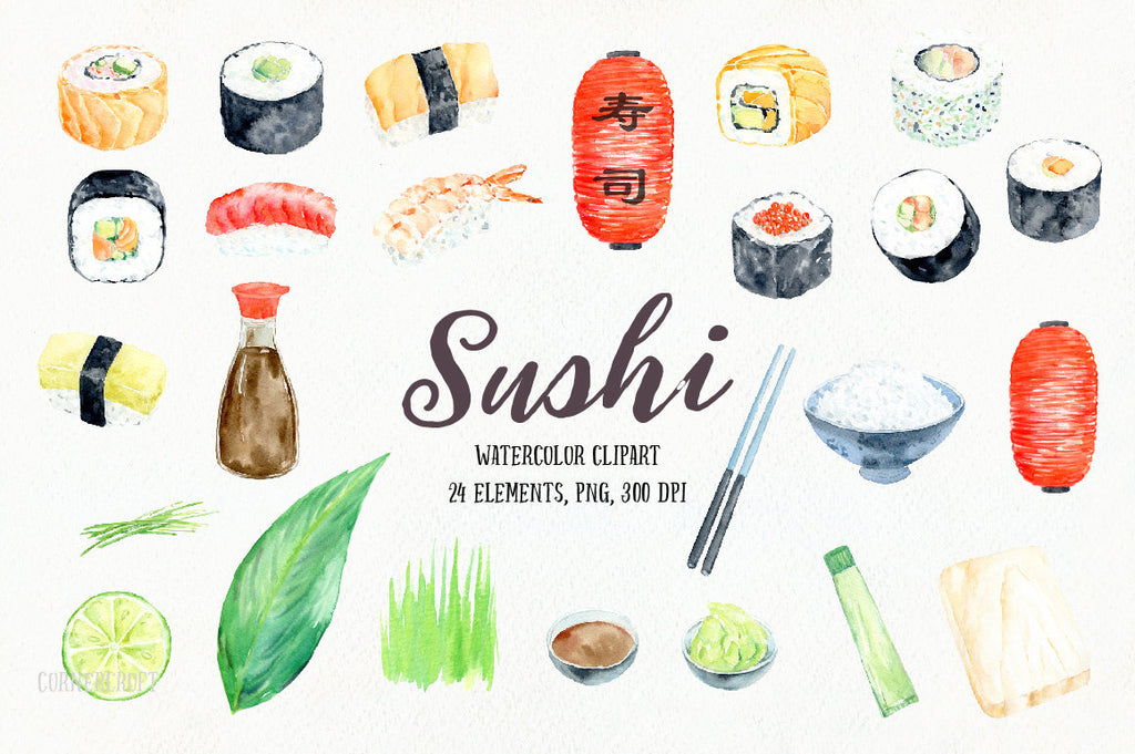 watercolor sushi, Japanese food, bit size dishes, Asian food including, sushi, rice and chopsticks, soy sauce, wasabi, lantern and decorative elements for instant download