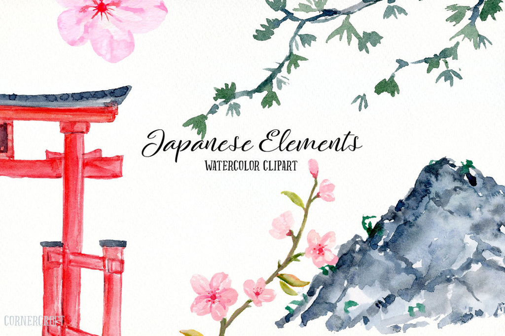 watercolor Japanese Landscape, Mount fuji, trees and pagoda, bamboo, pink cherry blossoms, torii (red gate)