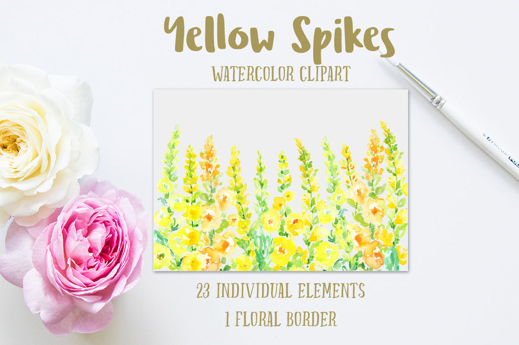 watercolor yellow floral spikes, toll floral spikes, cottage flowers, yellow poppies for instant download