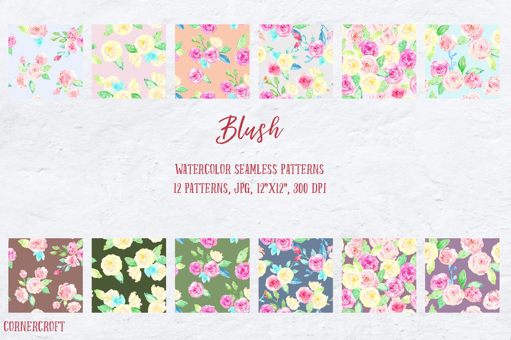 Hand painted watercolor patterns, pink, yellow and purple themed watercolor background, digital background for instant download